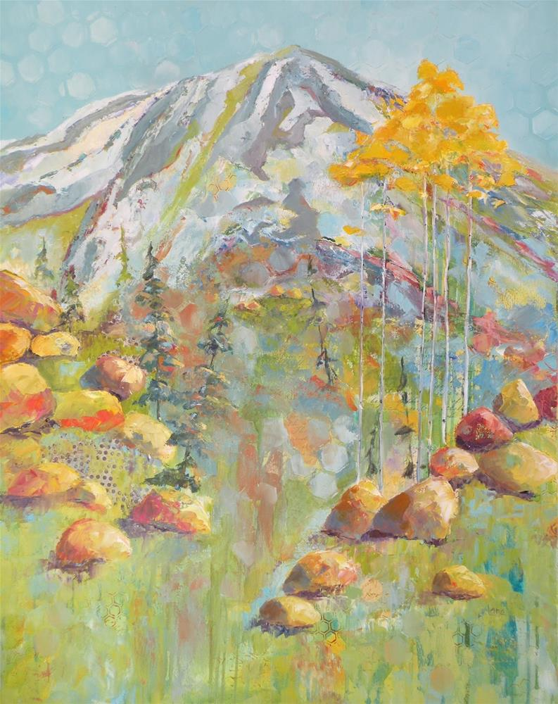 """""""MT. EVANS IN FAUVE BEFORE AND AFTER © SAUNDRA LANE GALLOWAY"""" original fine art by Saundra Lane Galloway"""
