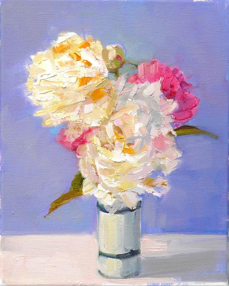 """""""White and Pink Peonies,still life,oil on canvas,10x8,price$250"""" original fine art by Joy Olney"""