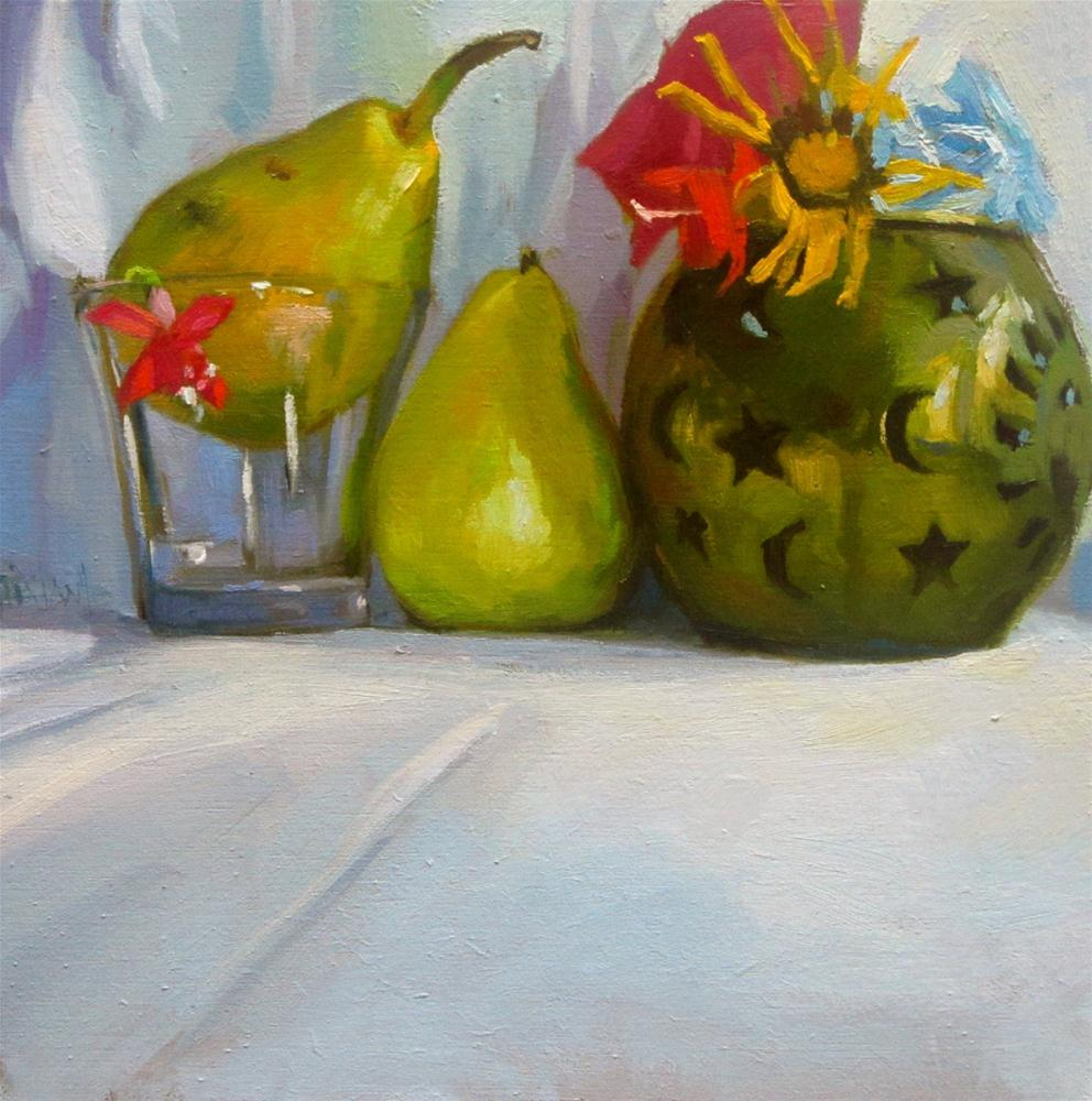"""""""Pears and flowers"""" original fine art by Víctor Tristante"""
