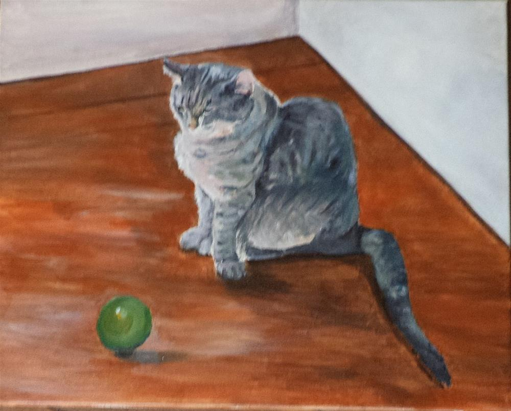 """Kitty and a green ball on the old wood floor"" original fine art by tara stephanos"