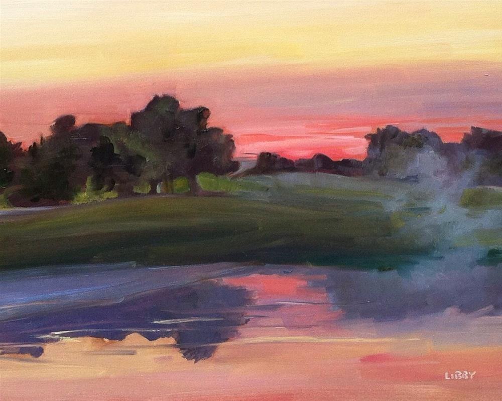 """Mist on the Pond"" original fine art by Libby Anderson"