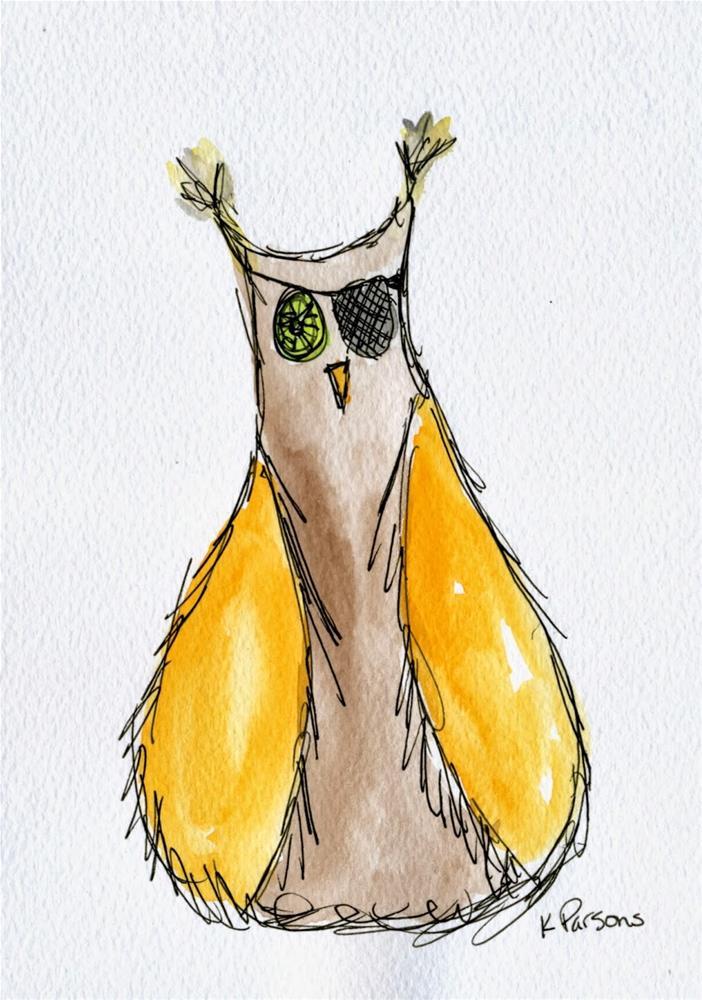 """Aarg...Owl"" original fine art by Kali Parsons"