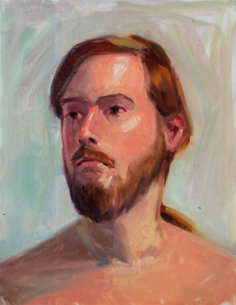 """Male Model,portrait,oil on canvas pad,16x12,priceNFS"" original fine art by Joy Olney"