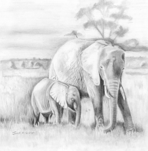 """""""Mom and Baby Elephant - Lean on me"""" original fine art by Janet Graham"""