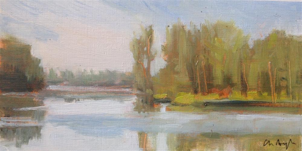 """""""Morning by the lake"""" original fine art by Christine Bayle"""