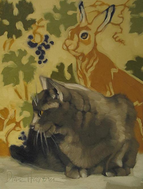 """Hop Away art nouveau bunny and gray cat"" original fine art by Diane Hoeptner"