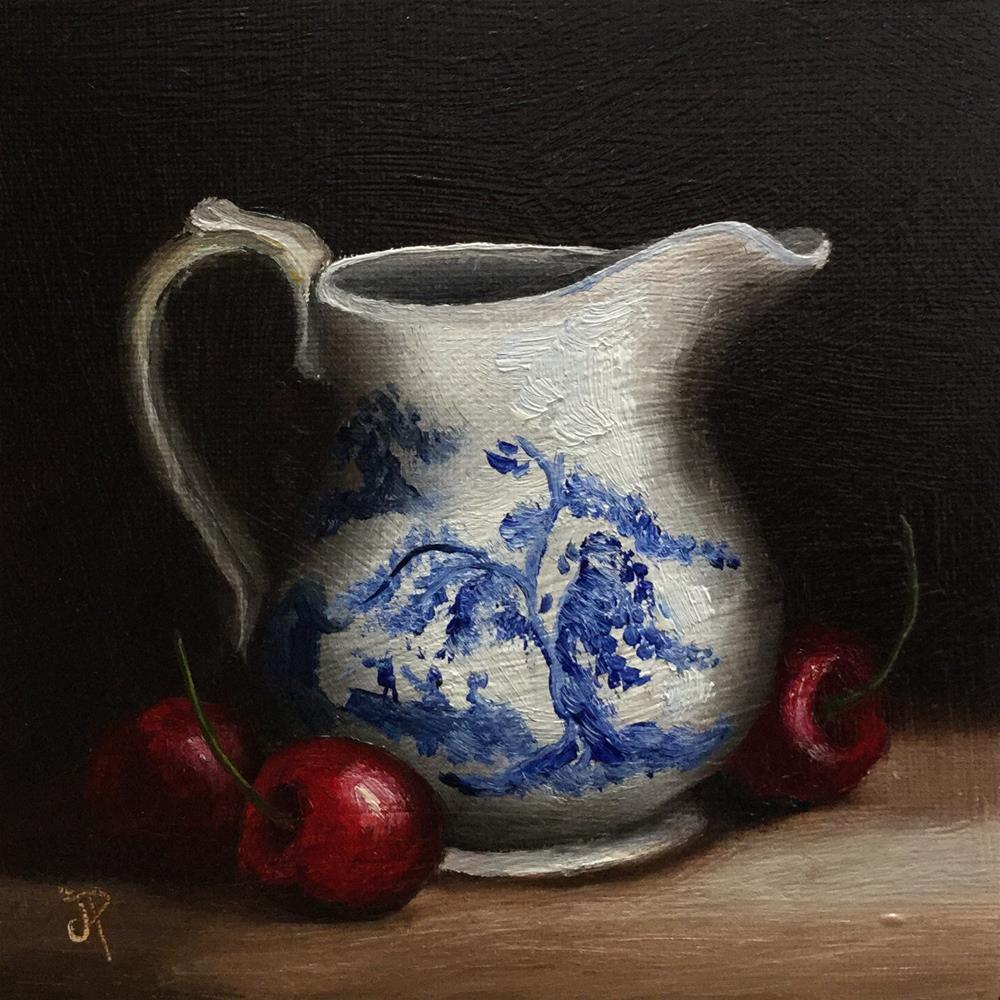 """jug with cherries"" original fine art by Jane Palmer"