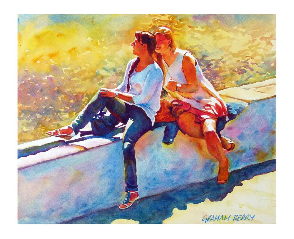 """Two girls"" original fine art by Graham Berry"