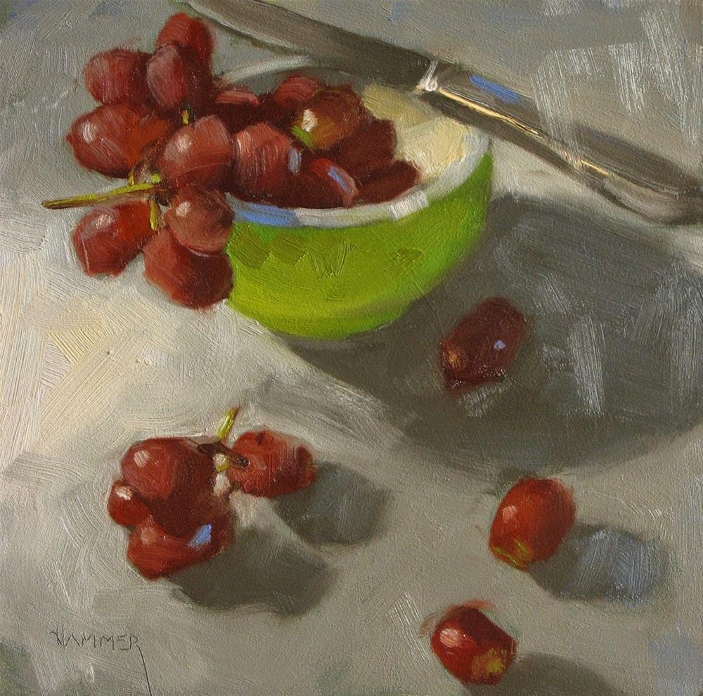 """Peel me a grape  6 x 6  oil"" original fine art by Claudia Hammer"