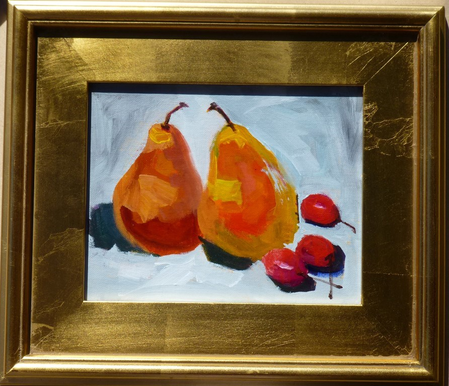 """Two Pears and Cherries 14075"" original fine art by Nancy Standlee"