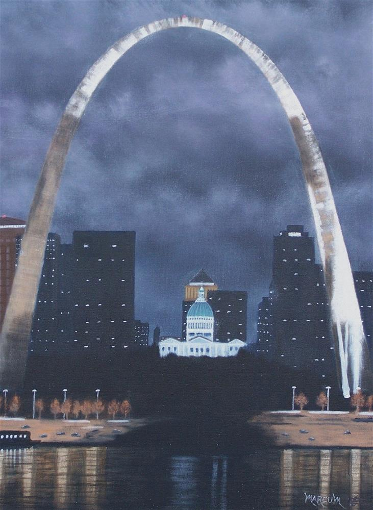 """St. Louis Arch at Night"" original fine art by John Marcum"