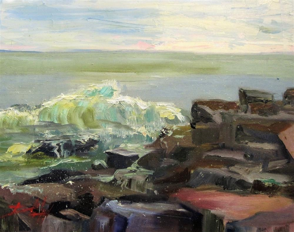 """Rocky Shore"" original fine art by Delilah Smith"