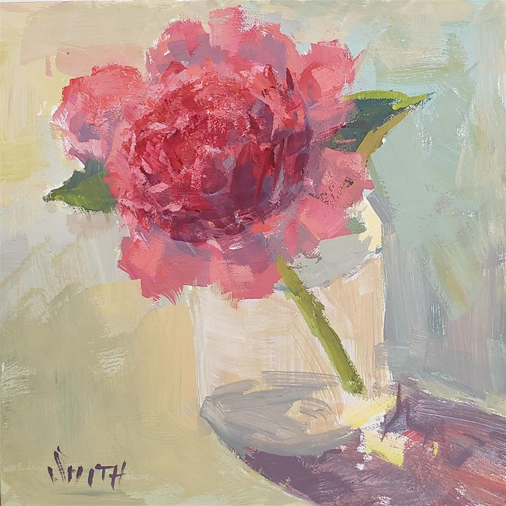 """First Peony "" original fine art by Barbie Smith"