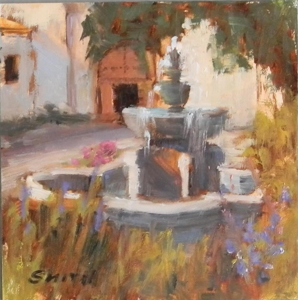 """Mission Fountain"" original fine art by Barbie Smith"