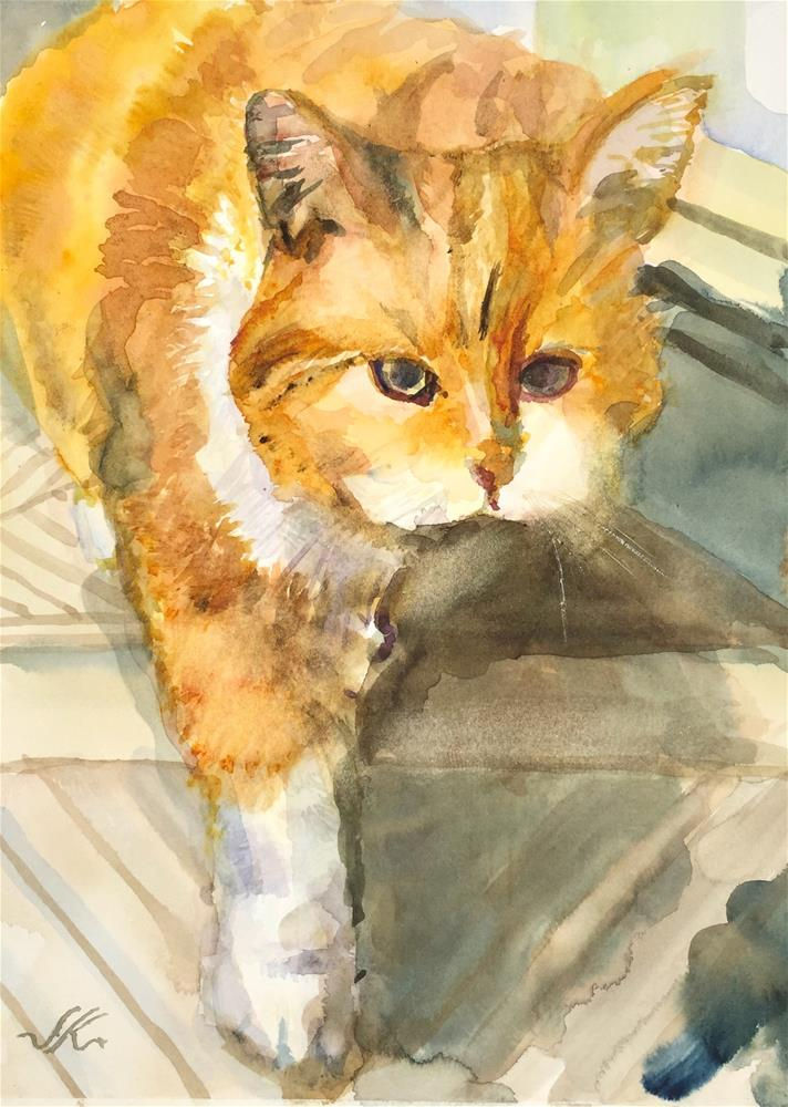"""""""Sparkles Prowling"""" original fine art by Jean Krueger"""