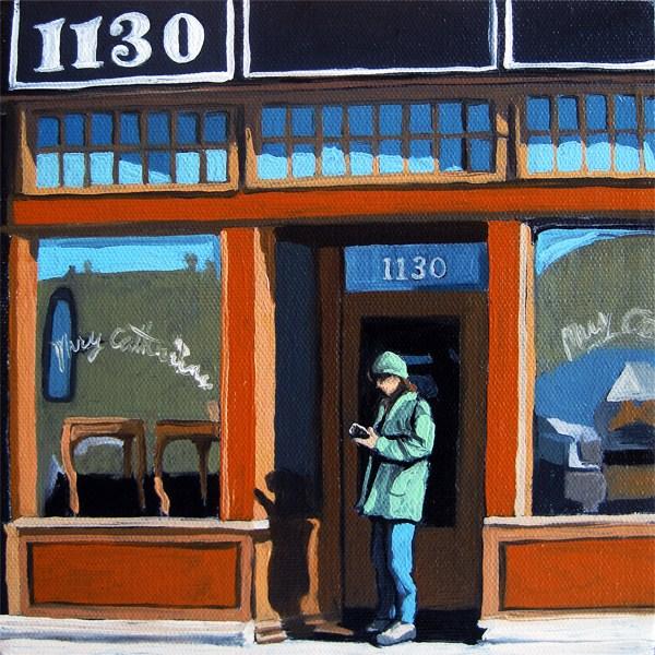 """WOMAN on Cell Phone City Street"" original fine art by Linda Apple"