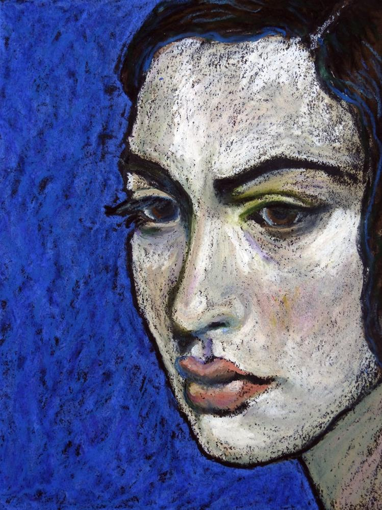 """""""Girl on Blue"""" original fine art by Ande Hall"""