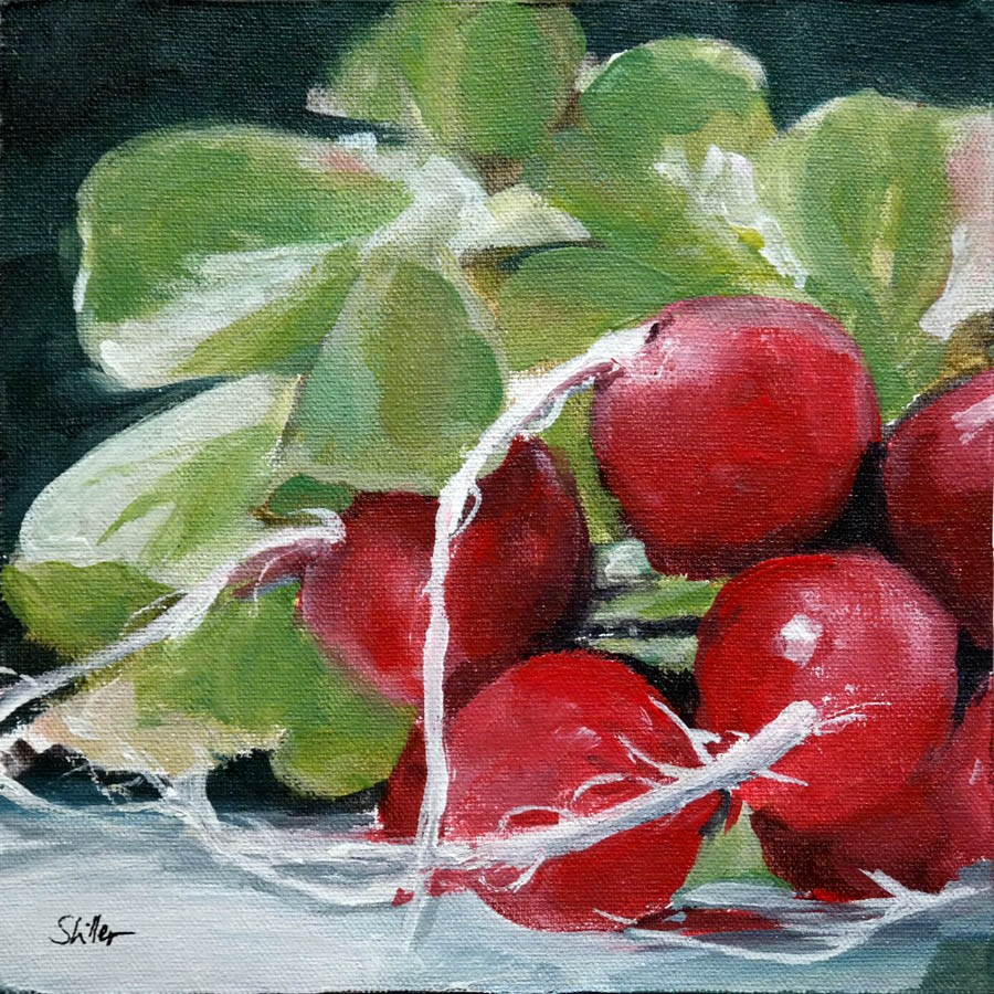 """2245 Bunch of Radishes"" original fine art by Dietmar Stiller"
