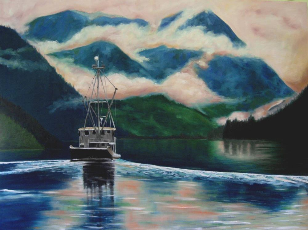 """30 x 40 inch oil  Closing Time"" original fine art by Linda Yurgensen"