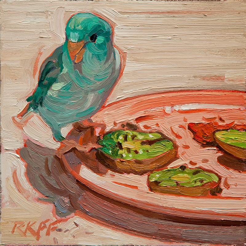 """""""Peep's Breakfast: 6x6 oil on panel"""" original fine art by Ken Faulks"""