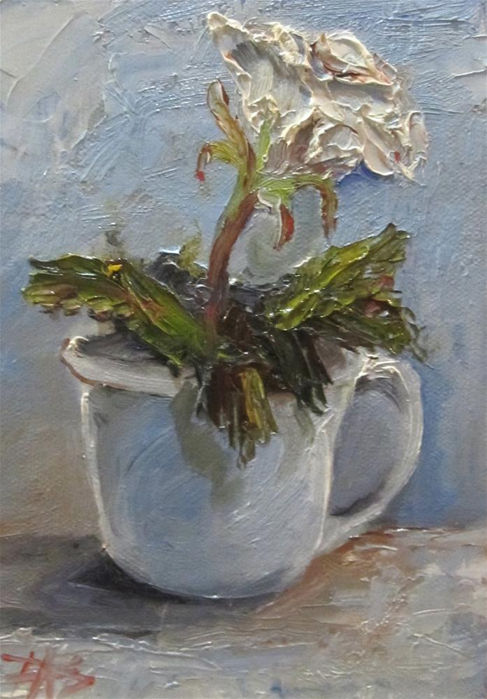"""""""Cup and White Rose"""" original fine art by Delilah Smith"""