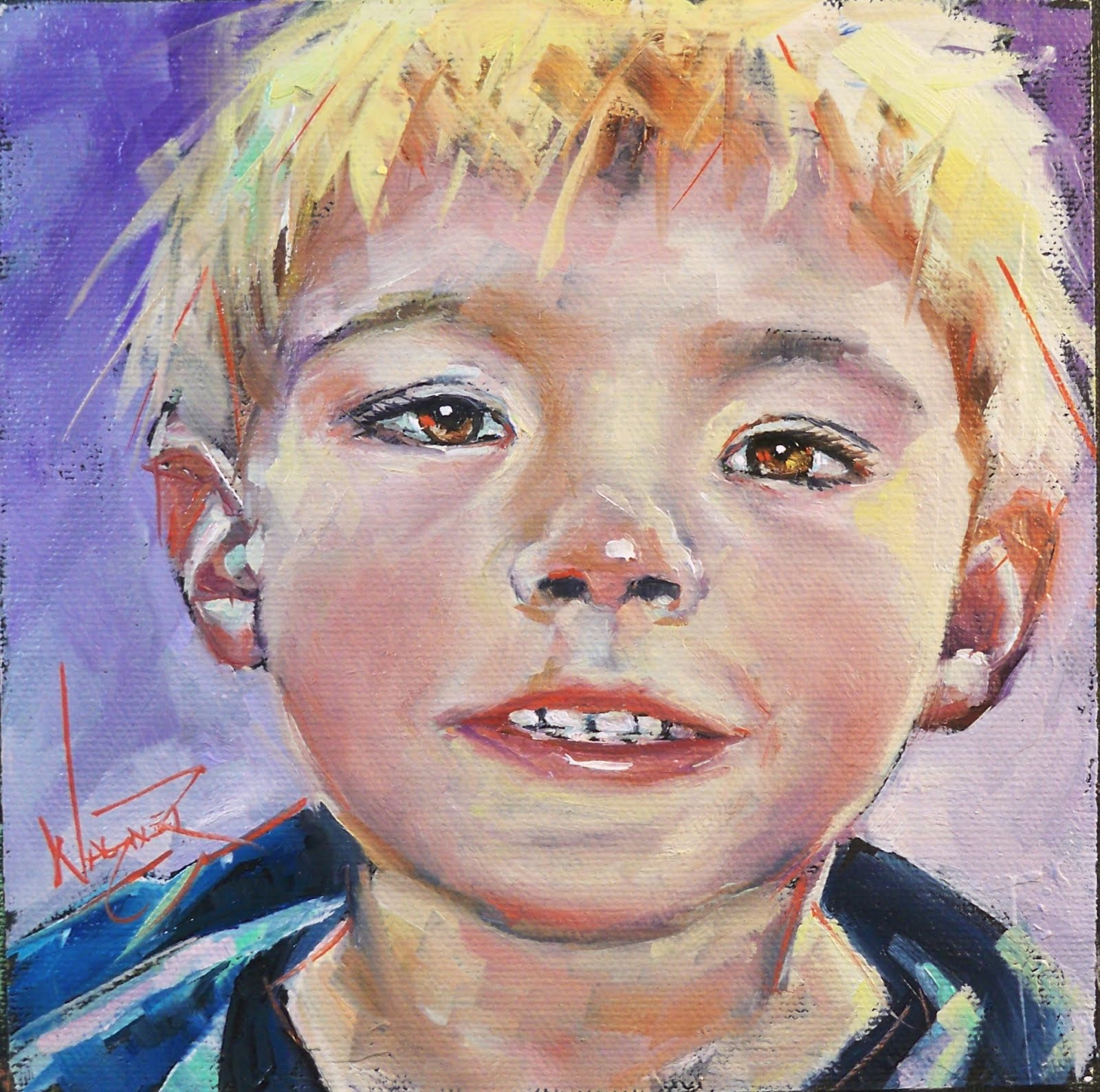 """PORTRAIT OF A BOY"" original fine art by Olga Wagner"