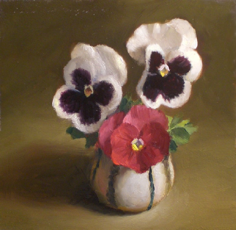 """Pansies in a Sake Cup"" original fine art by Debra Becks Cooper"