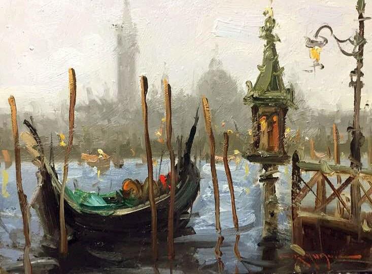 """""""Gondola(Plein air in Venice)"""" original fine art by Mostafa Keyhani"""