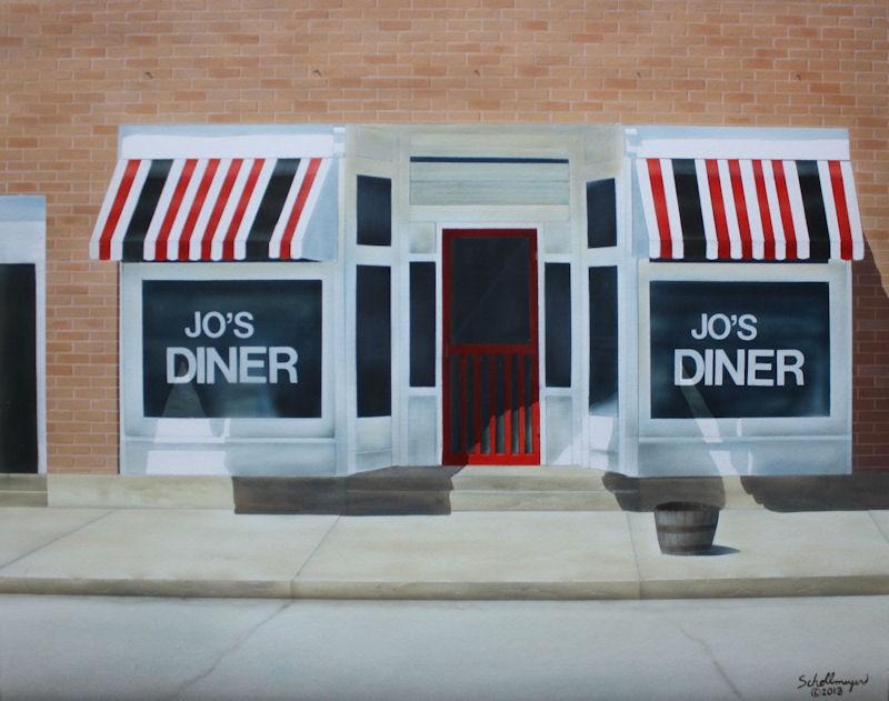 """Jo's Diner"" original fine art by Fred Schollmeyer"
