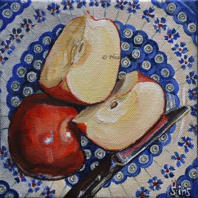 """Apples: Polish Pottery LXXXV"" original fine art by Heather Sims"