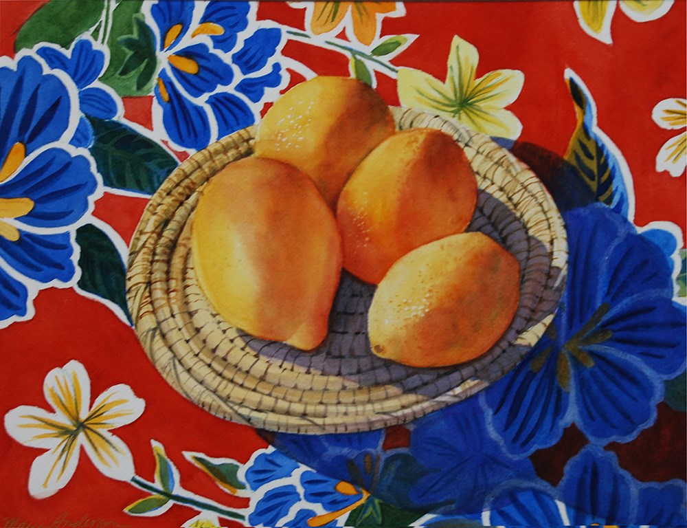 """Lemon Basket on Mexican Cloth"" original fine art by Mary Anderson"