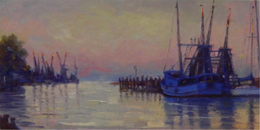 """Dawn on Shrimp Boat Lane, 10x20, oil, Shem's Creek, Charleston, south carolina, shrimp boats, dawn"" original fine art by Maryanne Jacobsen"