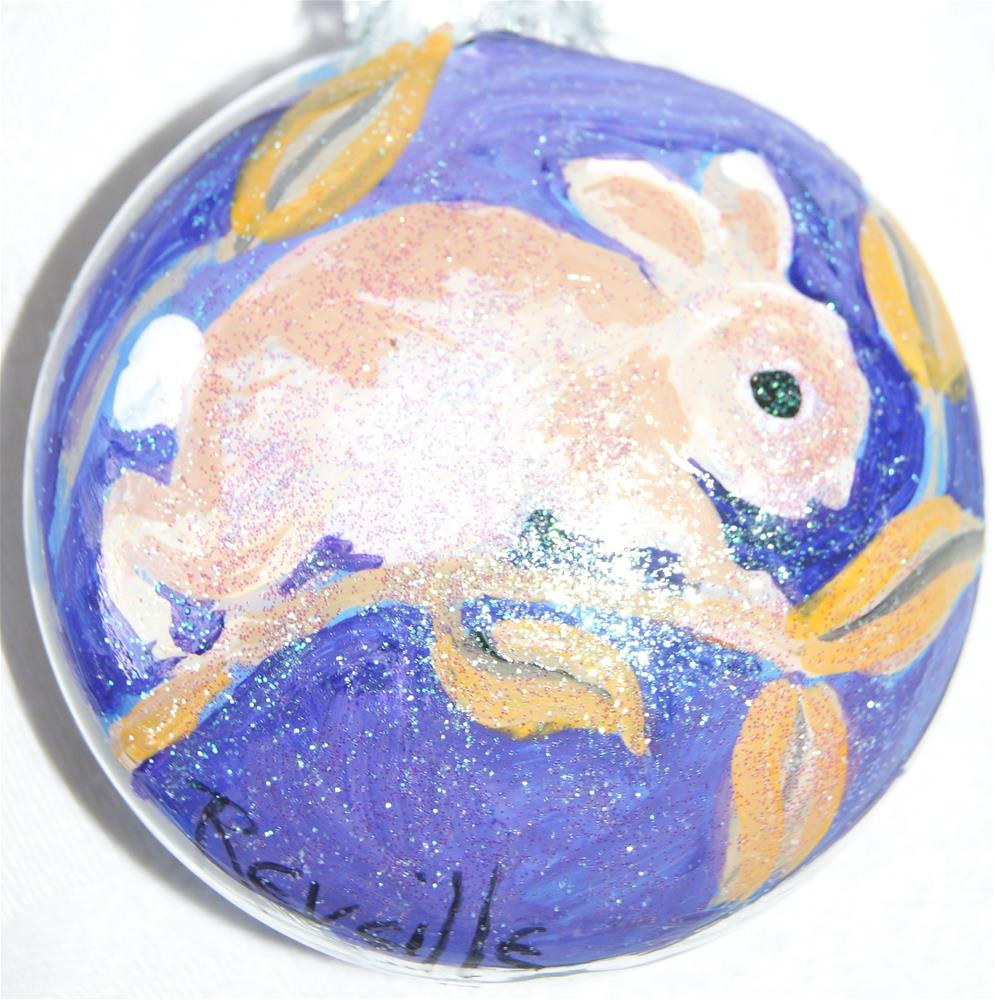 """""""Glass ornaments, Christmas, Holiday season, Hand painted, Bunny"""" original fine art by Reveille Kennedy"""