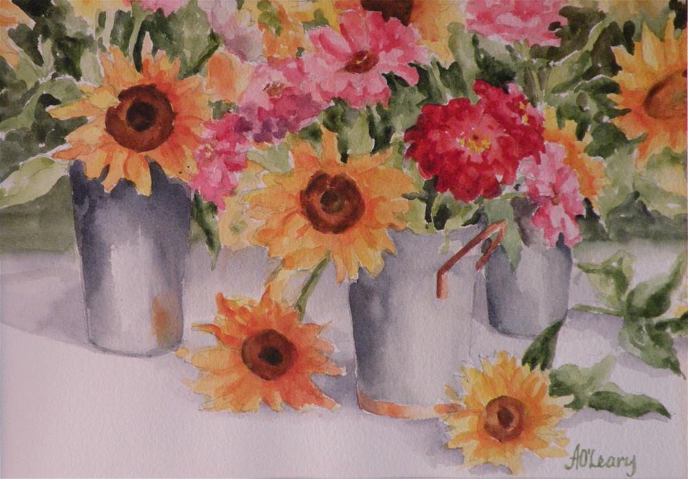 """""""Sunflowers and Zinnias"""" original fine art by Alice O'Leary"""