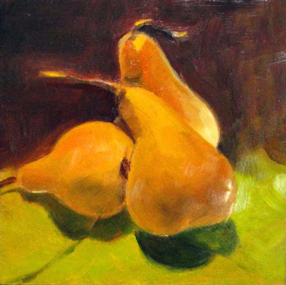 """Three Golden Pears"" original fine art by Cietha Wilson"