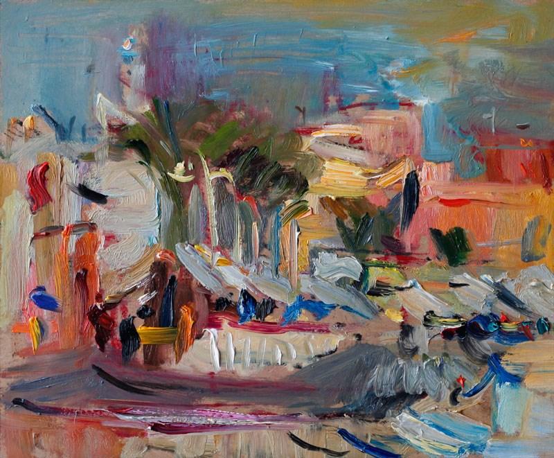 """Late light in Cabo de Palos Marina"" original fine art by Anna Fine Art"