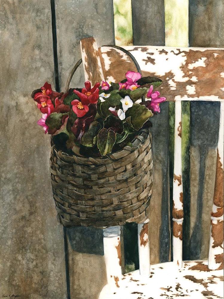 """""""Basket of Begonias"""" original fine art by Kara K. Bigda"""
