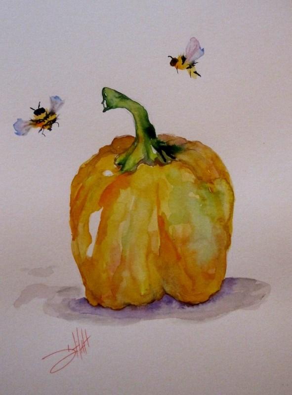 """Yellow Pepper"" original fine art by Delilah Smith"