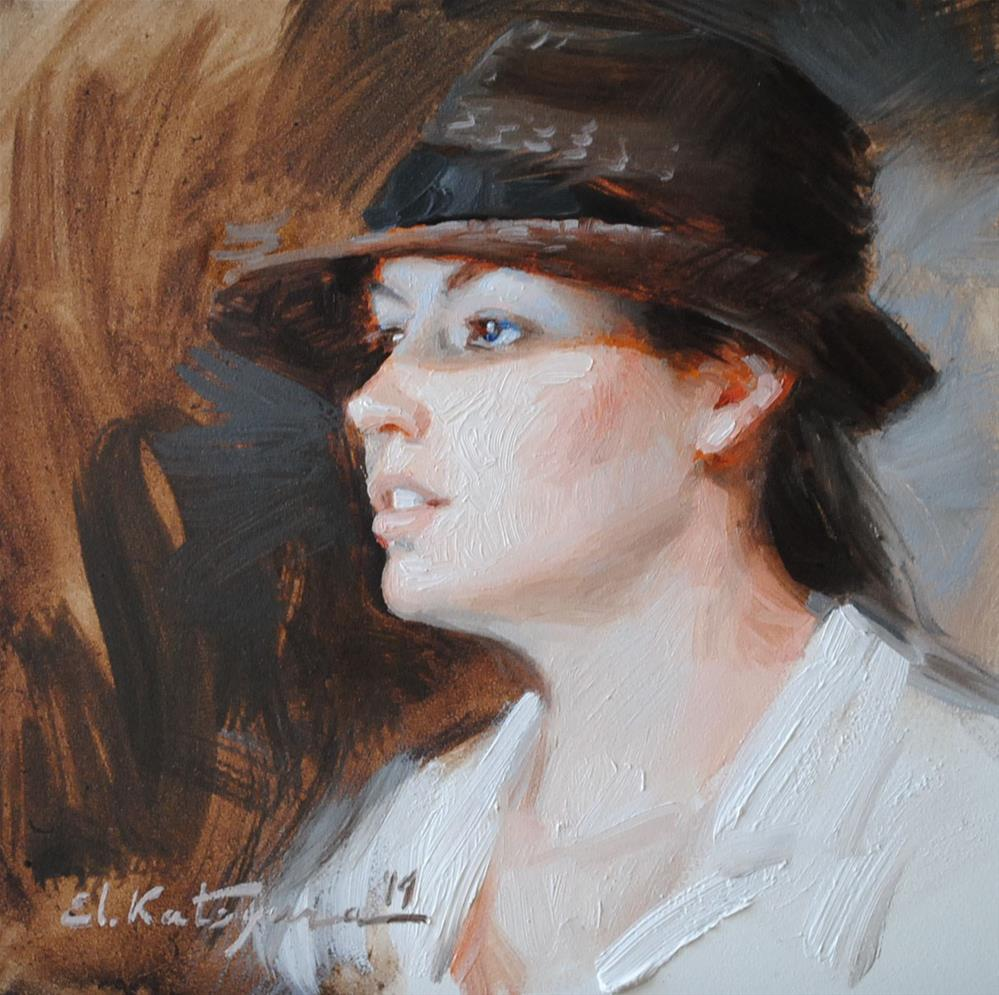 """A Girl From a Cafe"" original fine art by Elena Katsyura"