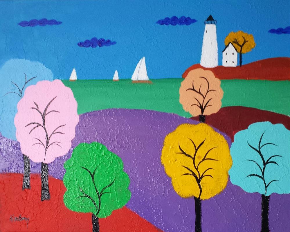 """""""Whimsical Lighthouse"""" original fine art by Karleen Kareem"""