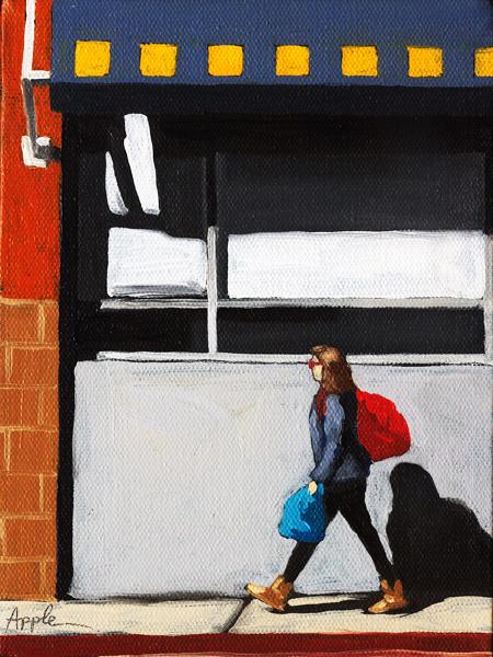 """Daily Errands - figurative city scene oil painting"" original fine art by Linda Apple"