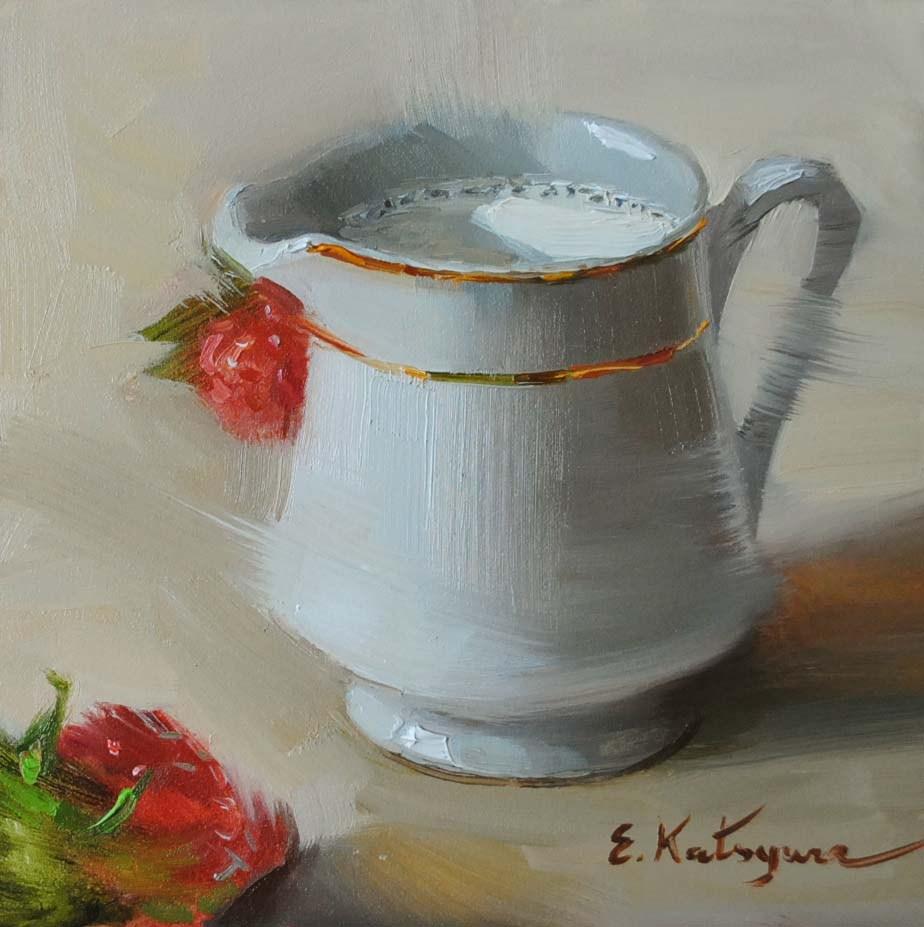 """Milk and Strawberries"" original fine art by Elena Katsyura"