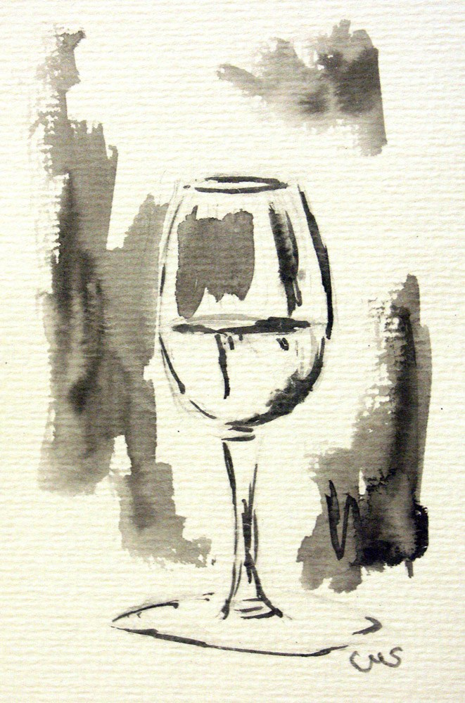 """Glas of Wine"" original fine art by Ulrike Miesen-Schuermann"