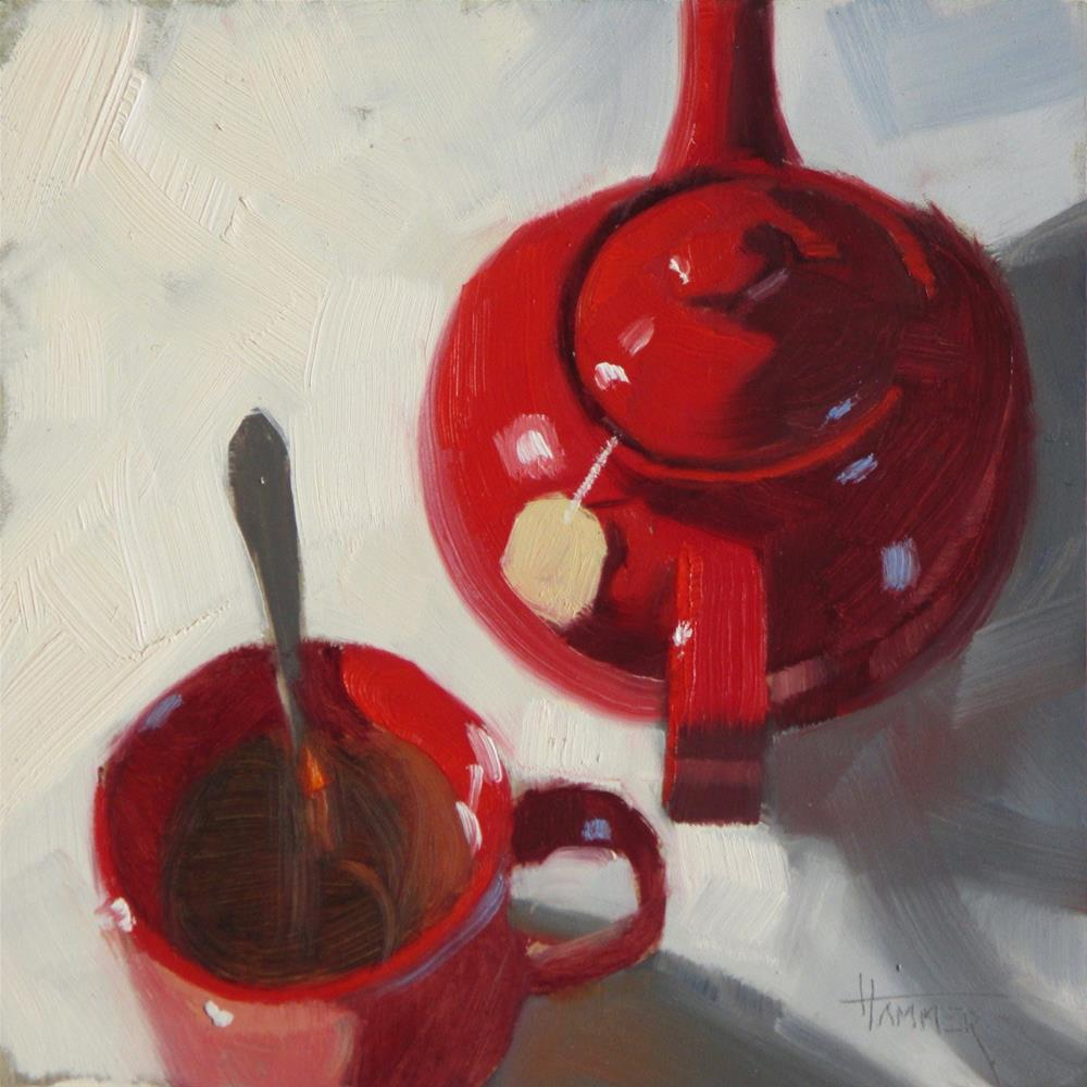 """Red tea  6in x 6in  oil"" original fine art by Claudia Hammer"