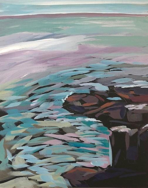"""Superior And Rocks #1, South"" original fine art by Kat Corrigan"