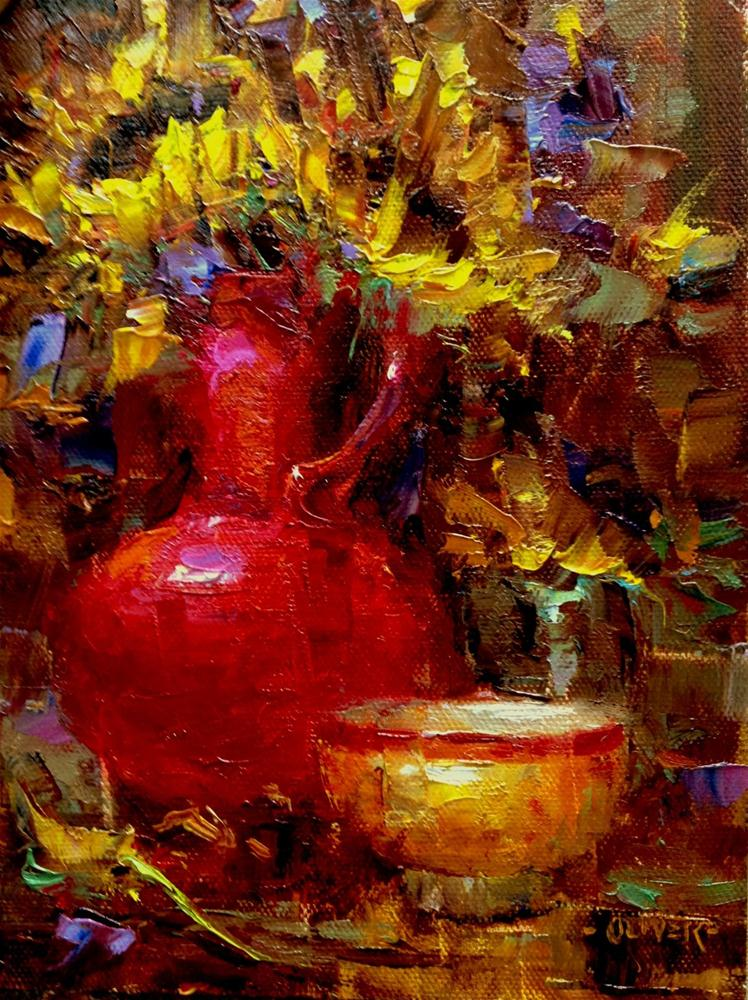 """Red Vase From a Friend"" original fine art by Julie Ford Oliver"