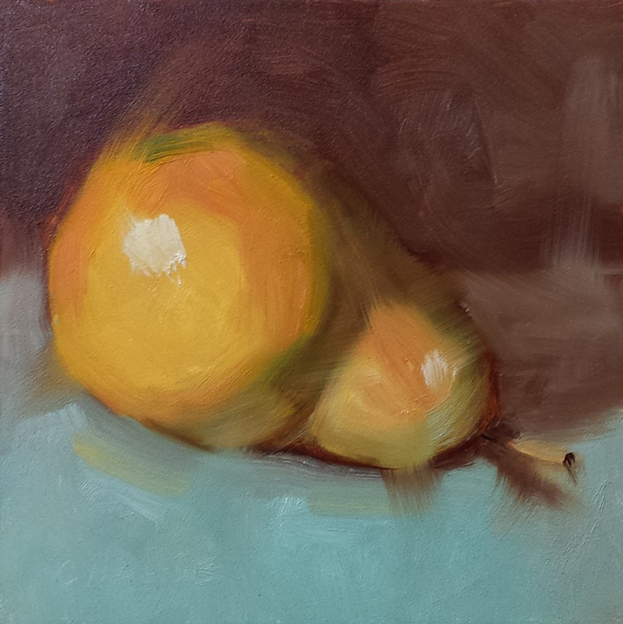 """""""Pear on Turquoise"""" original fine art by Cindy Haase"""