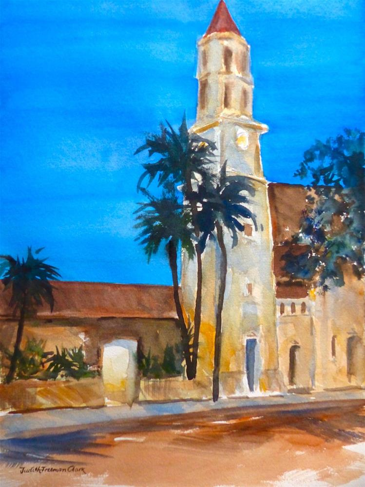 """St. Augustine at Dusk"" original fine art by Judith Freeman Clark"