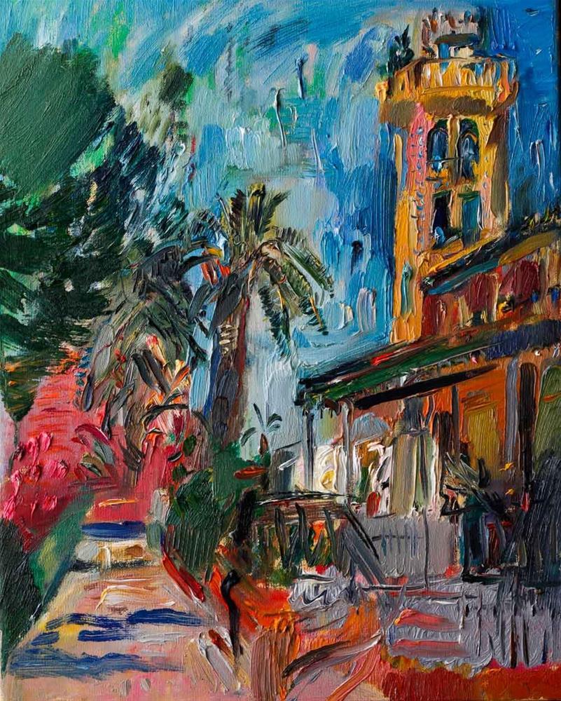 """""""Casa Beltri, Spanish Palm Garden - Plein Air Painting"""" original fine art by Anna Fine Art"""