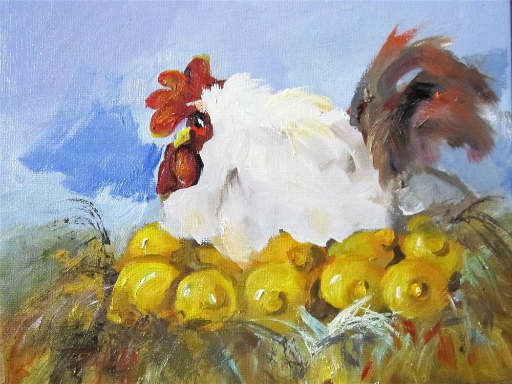 """Hen and Lemons"" original fine art by Delilah Smith"